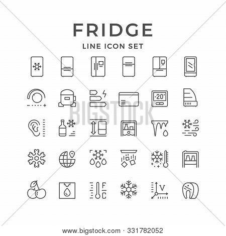 Set Line Icons Of Fridge, Refrigerator, Icebox Isolated On White. Compressor, Regulator, Water Coole