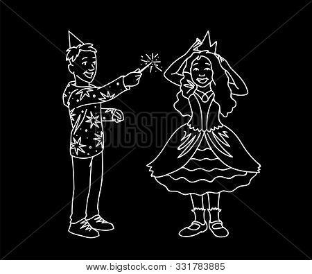 Happy Kids Having Fun. Monochrome Vector Illustration Of Boy And Girl Plaing Together On Black Backg