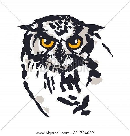 Owl Illustration. Digitalized Sketches. Ink Brush-pen And Markers On Paper. Black, Greys And Yellow.