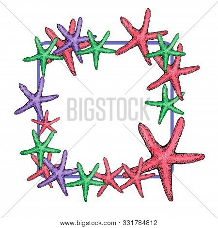 Colorful Seastar Square Frame On White Background. Red, Purple, Green.