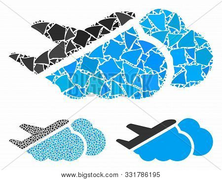 Airplane Over Clouds Mosaic Of Abrupt Parts In Variable Sizes And Color Hues, Based On Airplane Over