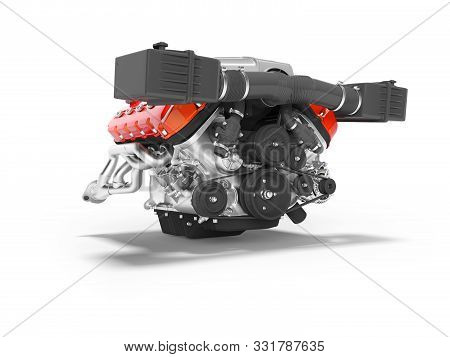 Engine For Car Assembly 3d Render On White Background With Shadow
