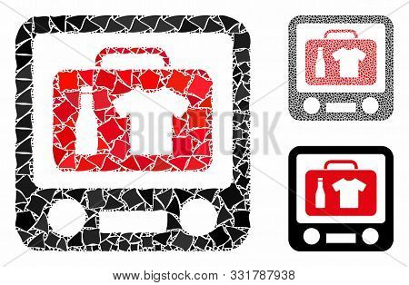 Baggage Xray Screening Mosaic Of Joggly Parts In Various Sizes And Color Tones, Based On Baggage Xra