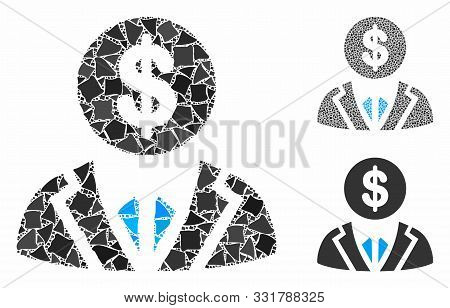 Banker Composition Of Raggy Parts In Various Sizes And Color Tinges, Based On Banker Icon. Vector Ir