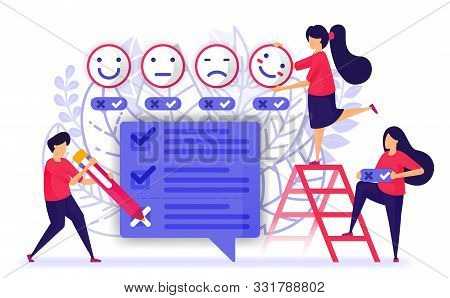 People Give Review And Fill Out Questionnaires Survey Or Exam For Service Or Product. Provide Feedba