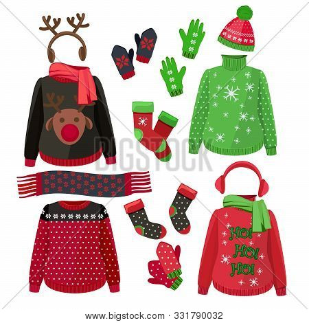 Christmas Clothes. Winter Ugly Sweaters Hats Gloves Scarves Pullover With Textile Decoration Vector