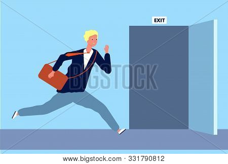 Male Run To Exit. Businessman Fast Moving To Opening Door Evacuation Or Emergency Escape Out From Of