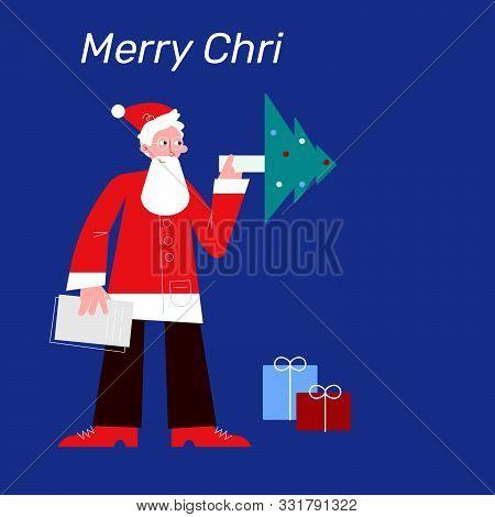 Modern Santa Claus With Telescope