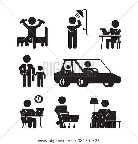 Daily Routine Icons. Active Person Lifestyle Silhouettes Wake Up Eating Bathing Working Sleeping Vec