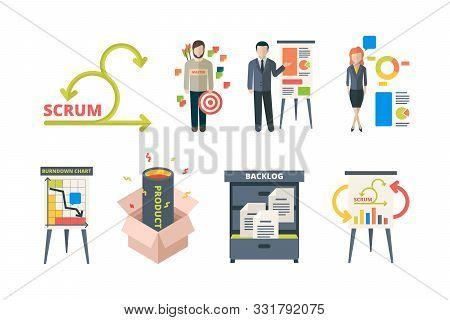 Scrum System. Business Processes Time Management Agility Team Work Methodology Framework Software De