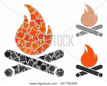 Campfire Composition Of Abrupt Elements In Various Sizes And Color Tinges, Based On Campfire Icon. V