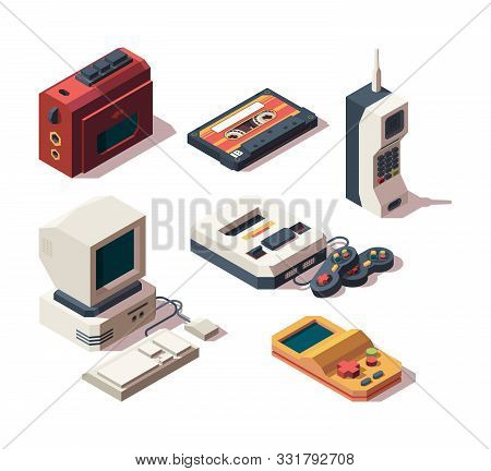 Retro Gadgets. Computer Camera Telephone Vhs Player Game Console Portable Old Devices Vector Isometr