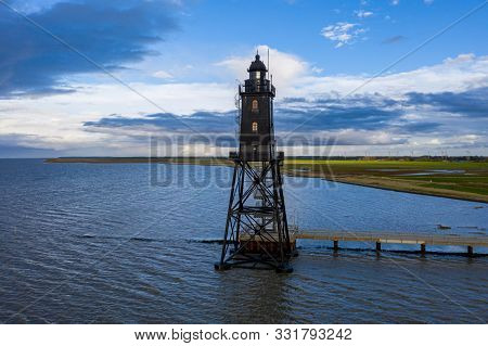 Beautiful Obereversand Lighthouse Or Leuchtturm Of North Sea Near Bremen, Bremerhaven And Weser Rive