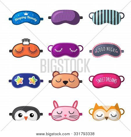 Sleeping Mask. Rest Clothes For Girl Face Closed Eyes Sleepover Masks Vector Collection. Funny Mask