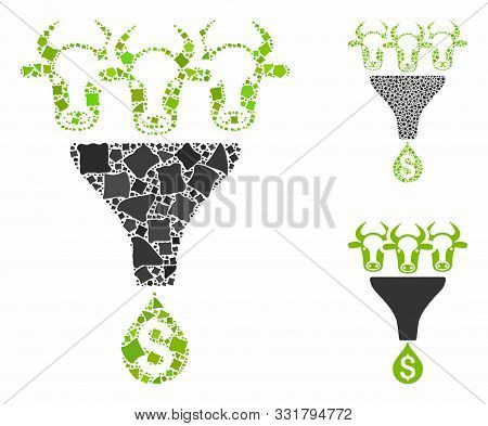 Cattle Profit Funnel Mosaic Of Unequal Parts In Variable Sizes And Color Tones, Based On Cattle Prof