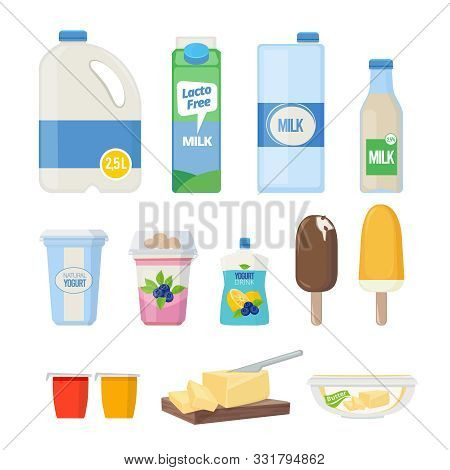 Milk Products. Dairy Food Yogurt Leche Cheese Ice Cream Vector Cartoon Natural Healthy Products Coll