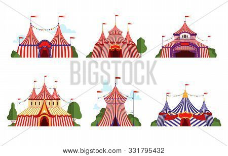 Circus Tent. Carnival Circus Canopy Stripe Tent Different Styles Happy Party Symbols Vector Cartoon