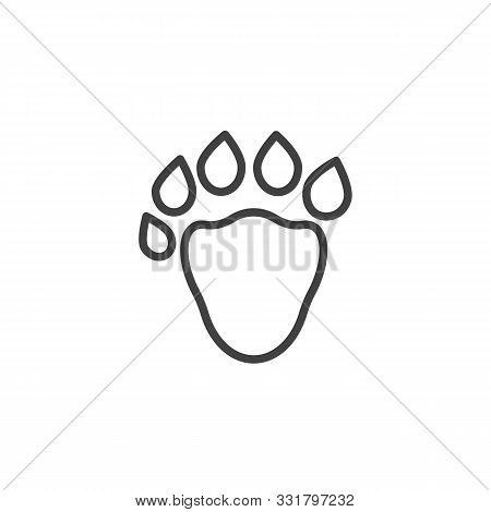 Sable Paw Print Line Icon. Linear Style Sign For Mobile Concept And Web Design. Sable Animal Footpri