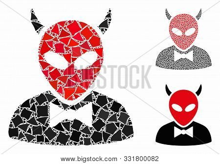 Devil Composition Of Raggy Parts In Various Sizes And Color Tints, Based On Devil Icon. Vector Irreg