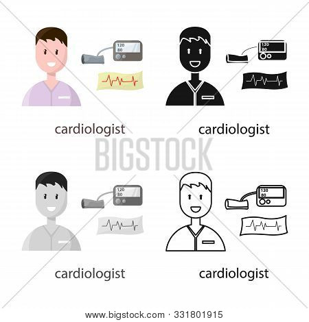 Isolated Object Of Cardiologist And Cardiovascular Symbol. Set Of Cardiologist And Cardiac Stock Sym