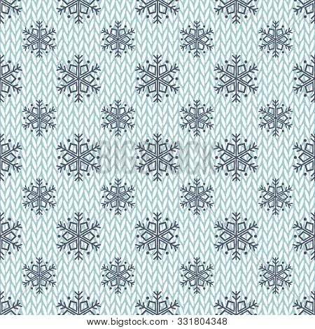 Knitted Background And Snowflakes. Seamless Vector Illustration With Knitted Texture, Winter Theme