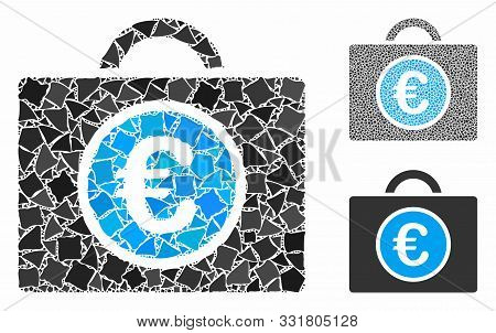 Euro Bookkeeping Mosaic Of Uneven Parts In Various Sizes And Shades, Based On Euro Bookkeeping Icon.