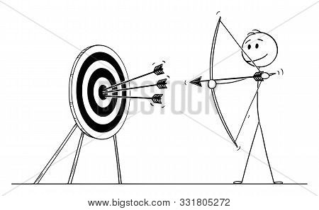 Vector Cartoon Stick Figure Drawing Conceptual Illustration Of Successful Man Or Businessman Shootin