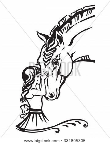 Girl Embrace Horse Head , Monochrome Decorative Portrait In Profile Of Girl And Horse, Vector Isolat