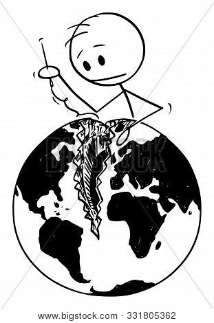 Vector Cartoon Stick Figure Drawing Conceptual Illustration Of Man With Needle Sewing Broken World,