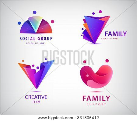 Vector Set Of Men, People Group, Family Logos. Child Adoption Logo Collection And Charitable Foundat