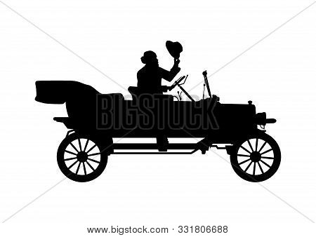 Old Car Silhouette. Vintage Touring Car With Driver In Bowler Hat. Side View. Flat Vector.