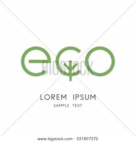 Green Eco Logo - Ecology And Tree Symbol. Environment Conservation And Nature Vector Icon.