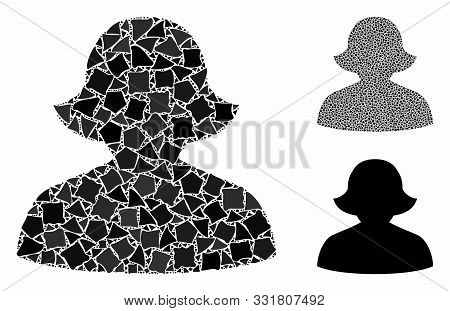 Female Composition Of Abrupt Items In Variable Sizes And Color Tints, Based On Female Icon. Vector A