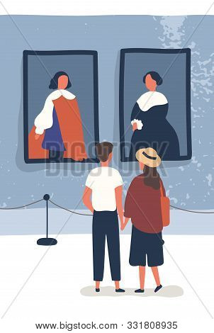 Young Couple Contemplate Classical Paintings In Museum. Exhibition Visitors Enjoy Exposition. Man An