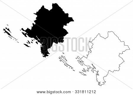 Sibenik-knin County (counties Of Croatia, Republic Of Croatia) Map Vector Illustration, Scribble Ske