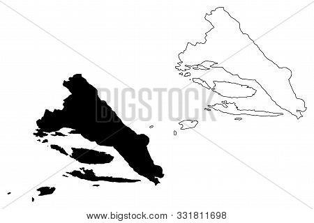 Split-dalmatia County (counties Of Croatia, Republic Of Croatia) Map Vector Illustration, Scribble S