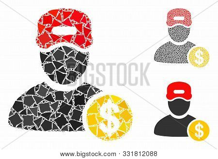 Guy Salary Mosaic Of Trembly Elements In Variable Sizes And Color Hues, Based On Guy Salary Icon. Ve