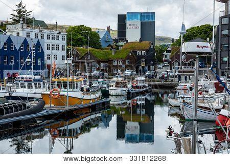 Torshawn, Faroe Islands, Denmark - July 05, 2019: Harbour In Bay Of Torshawn, Which Is The Capital C