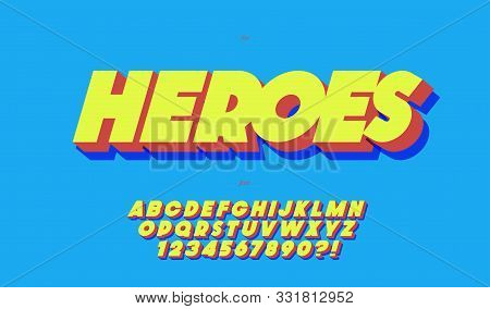Heroes Vector Font 3d Bold Style Trendy Typography For Event, Poster, Decoration, Motion