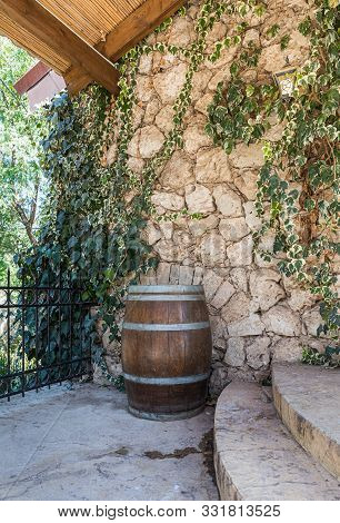 Rosh Haayin, Israel, October 31, 2019 : A Large Wine Barrel At The Entrance To The Archaeological Si