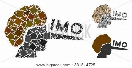 Imo Lier Mosaic Of Raggy Pieces In Different Sizes And Color Tints, Based On Imo Lier Icon. Vector U