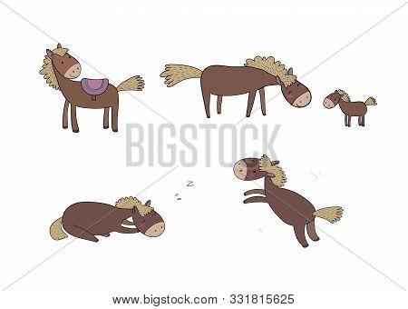 Cute Cartoon Horse. Farm Animals. Funny Pony