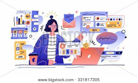 Content Manager At Work Hand Drawn Illustration. Female Multitasking Skill Concept. Young Girl Manag