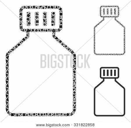 Phial Composition Of Uneven Pieces In Different Sizes And Color Tones, Based On Phial Icon. Vector I
