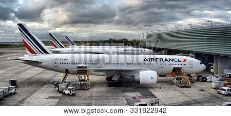 France, Paris, Charles De Gaulle, October 10 2017,  Air France Airbus Airplane Parked On Paris Airpo