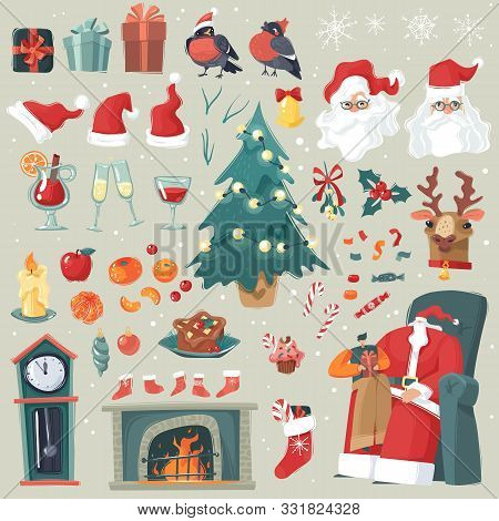 Chrismas New Year Set. A Large Set Of Christmas And New Year Decorations In Cartoon Style, Character