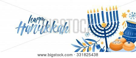 Jewish Traditional Holiday Hannukah Background. Religious Festive Symbols Vector Illustration. Menor