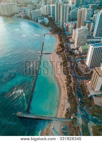Aerial Drone Shot View Of Waikiki Beach In Honolulu In Hawaii In Summer Time