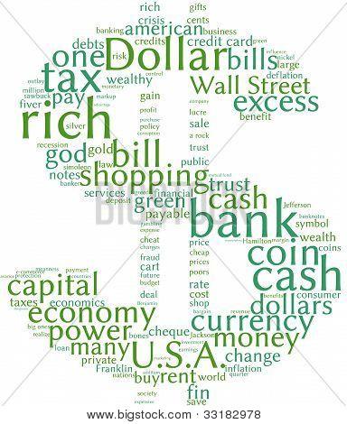 Dollar symbol  tag cloud