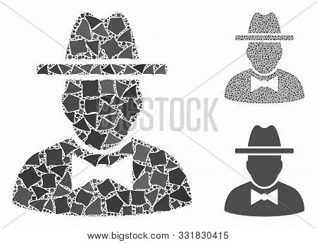 Spy Mosaic Of Trembly Pieces In Variable Sizes And Shades, Based On Spy Icon. Vector Trembly Element